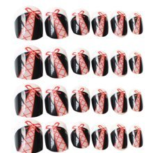 24 Pcs Fashion Nails Stickers Beautiful Nail Decorations False Nails Tips [P]