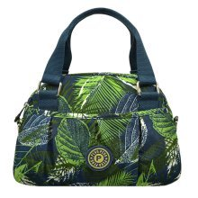 Women Waterproof Zipper Tote Bag Handbag Messenger Bag, Navy Blue, Leave