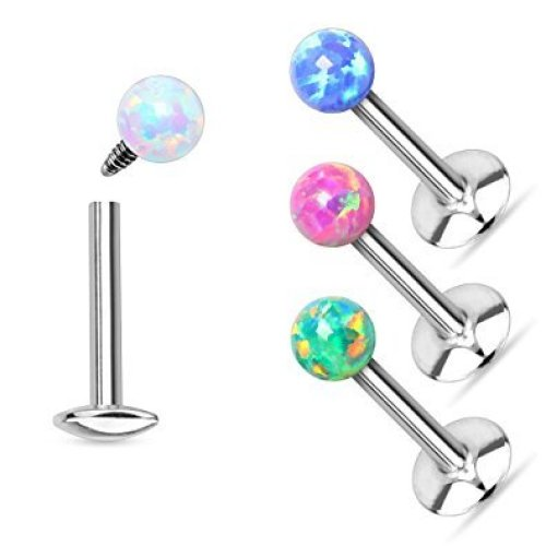 Synthetic Opal Topped Surgical Steel Labret Lip Bar