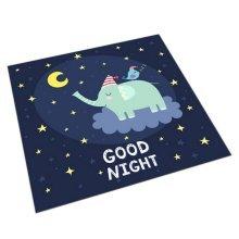 Square Cute Cartoon Children's Rugs, Good Night Cartoon Elephant
