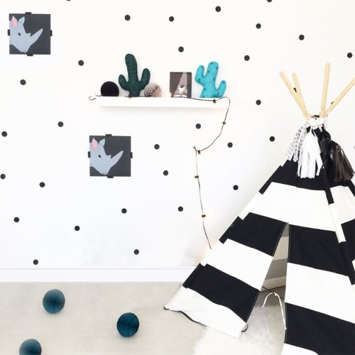 Slivercolor Polka Dot Stickers,Removable Dot Sticker,Black Circle Wall Decals ,Vinyl Art Decor spots for Children's Room Decoration, 1.2 inch, 216...
