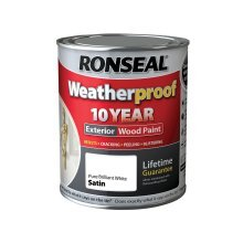 Ronseal 10 Year Weatherproof Exterior Wood Paint 750ml - SATIN Pure Brilliant White