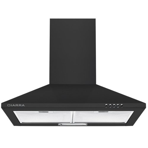 CIARRA 60cm Chimney Cooker Hood 600mm Kitchen Range Hoods LED Bulbs Recirculating & Ducting Extractor Fan Grease Filters Black