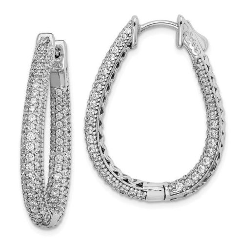 7fe69d472 Sterling Shimmer QMP590 30 mm Sterling Silver Rhodium-Plated CZ Teardrop  Hinged Hoop Earrings - Polished on OnBuy