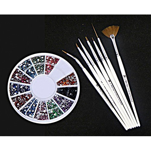 Large Wheel with 12 Colors Round Rhinestones Plus 7 x Nail Art Brush Tool Set
