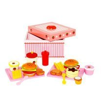deAO® Wooden Burger and Chips Food Play Set