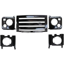 LAND ROVER DEFENDER - XS GRILLE & LAMP SURROUND - BLACK WITH SILVER MESH