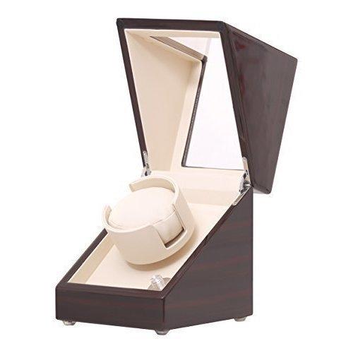 Pateker® Ebony Wood Finish Single Watch Winder, White Leather Box Case