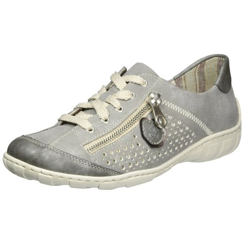Rieker Women's M3705 Low-Top Sneakers, Grey (Blei/Stahl/Altsilber 45), 5 UK