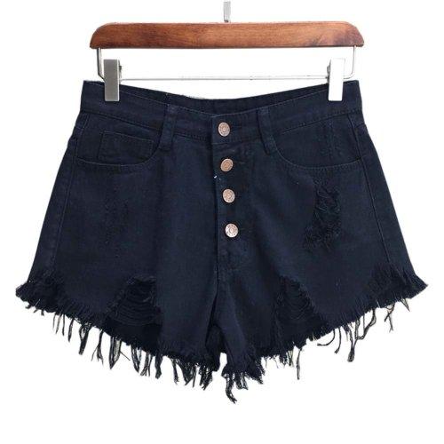 Trendy Shorts Women's Summer High Waist Jeans Shorts Denim Shorts, D