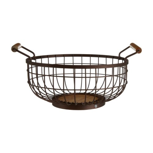 Vertex Fruit Basket Bronze Effect With Wooden Base & Handles