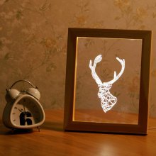 Kcasa FL-701 3D Photo Frame Illuminative LED Night Light Wooden Deer Head Desktop Decorative USB Lamp For Bedroom Art Decor Christmas Gifts
