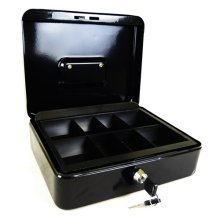 "Hyfive 12"" Black Steel Petty Cash Box Money Holder Security Safe With Keys"