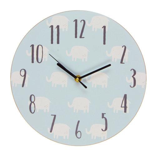 Petit Cheri Elephant Design MDF Bedroom 17cm Clock - New Baby Boy