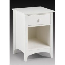 Treck White Stone Bedside Table - 1 Drawer - Fully Assembled Option Flat Packed