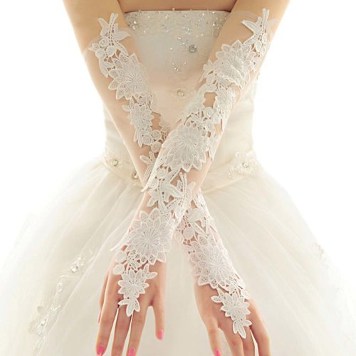 Bridal Wedding Gloves Party Dress Lace Long Gloves A04