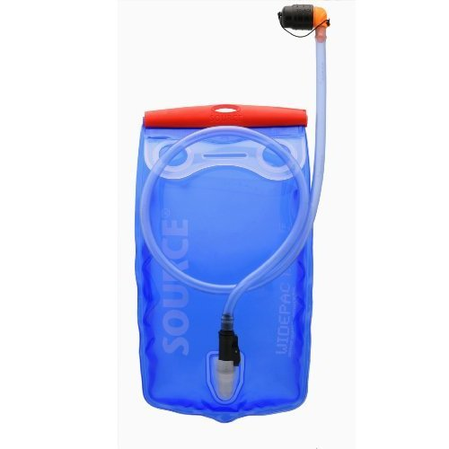 Source Outdoor Widepac Hydration System Reservoir with Helix Bite Valve, 1.5-Liter / 50 oz, Transparent Blue