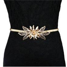 Women Metal Flower Elastic Stretch Waist Belt Strap Cummerbund Waistband