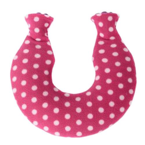1.6L Neck/Shoulder Hot Water Bottle Water-filled Bag With Villus Cover, Rose Red