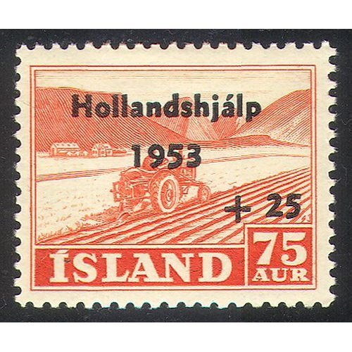 Iceland 1953 Tractor/ Ploughing/ Farming/ Welfare/ Netherlands Flood Relief Fund 1v n30547