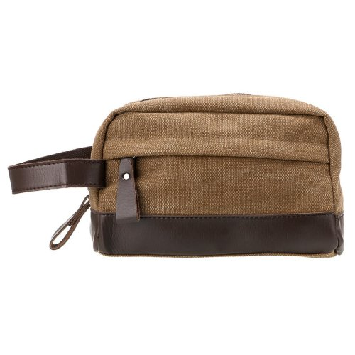 IGNPION Toiletry Bag Unisex Vintage PU Canvas Compact Travel Make up Cosmetic  Wash Bag Shaving Dopp Kit with Handle (Coffee) on OnBuy 50b40c778cdc6