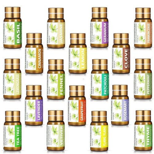 KIUNO Essential Oils Set 18×5ML 100% Pure Top Therapeutic Grade Aromatherapy Oil with 4 Droppers...