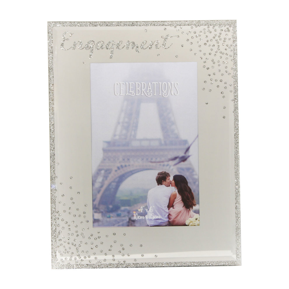 62edc85aa74 Engagement Sparkle Mirror Glass Photo Frame with Glitter Letters - 4