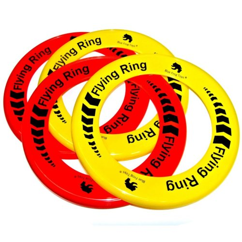 Pack of 4 Flying Rings - Fun Outdoor Summer Toys - Garden Game Frisbee Type Toys