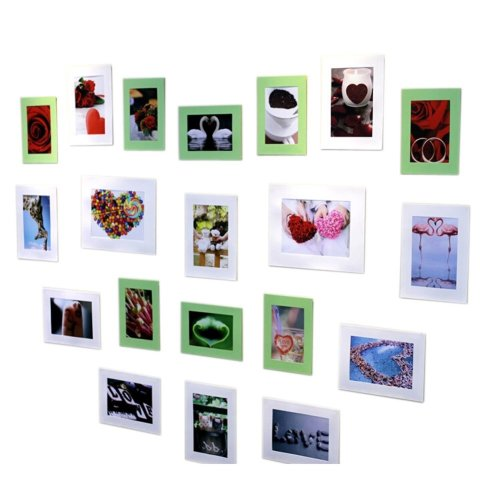 Beautiful Wall Decor 20 Paper Photo Frames With a Pack of Blu Tack,Green & White