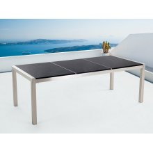 Garden table - Dining table 220cm - Stainless Steel - Black granite top - GROSSETO