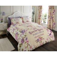 Iola Paris cream & purple cotton blend duvet cover