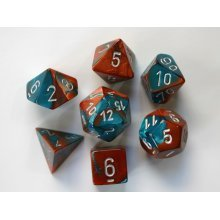 Chessex Gemini Polydice Set - Copper-Teal w/silver