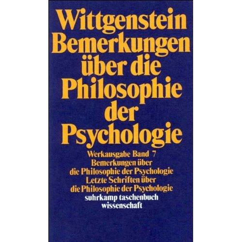 Bemerkungen über die Philosophie der Psychologie.