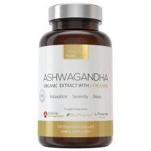 Organic Ashwagandha Extract + L-Theanine + Bioperine. 800mg KSM-66 Ashwaganda Extract, 200mg L-Theanine & 10mg BioPerine per Serving. Natural Mood Enhancing Serenity Supplement with Scientific based Ingredients.