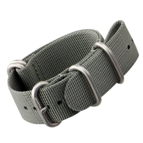 Nylon Watch Strap by ZULUDIVER®, Brushed ZULU Buckles, Grey, 22mm