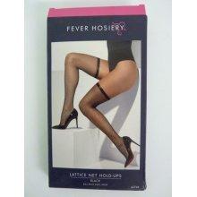 Adult's Black Lattice Net Stockings - Fancy Dress Hold Ups Ladies Accessory -  lattice fancy dress stockings net black hold ups ladies accessory