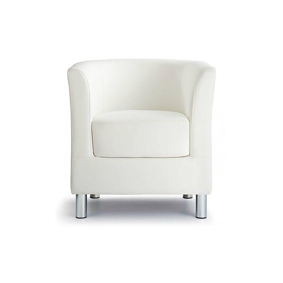 Sagony Designer Modern Tub Chair White Padded Seat Chrome Legs on OnBuy
