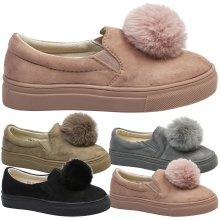 Elouise Girls Kids Flat Faux Fur Pom Pom Plimsolls