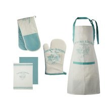 Country Kitchen Oven Gloves, Apron & Tea Towels - White/Teal, Set Of 5