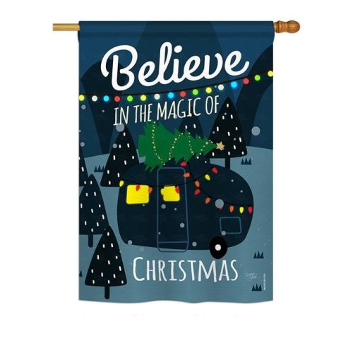 Breeze Decor BD-XM-H-114152-IP-BO-DS02-US 28 x 40 in. Seasonal Christmas Impressions Decorative Vertical House Flag - Believe the Magic Trailer Winter