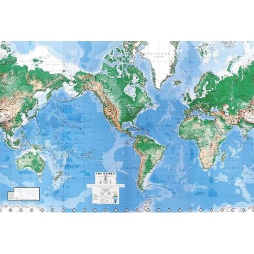 Environmental Graphics C900 Executive World Map Wall Mural - Writable-Wipe Off Surface