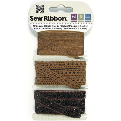 """We R Memory Keepers Sew Ribbon .375""""X6yds-Chocolate"""