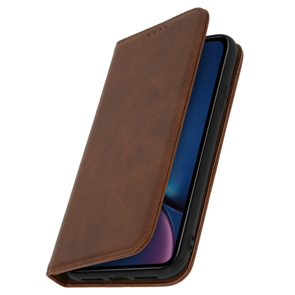 big sale de526 46555 Flip Book cover wallet case with stand with TPU shell for iPhone XR - Brown