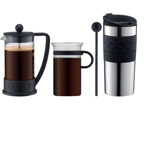 Bodum Coffee Set, Coffee Maker, 3 Cups, 0.35 L, Travel Mug, Vacuum, Bistro Nouveau Coffee Glass and Spoon - Black