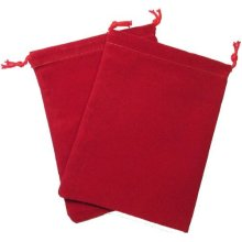 Chessex Dice: Velour Cloth Dice Bag Small (4 x 6) - RED - Holds Approximately 20-30 Dice