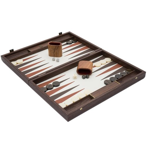 The Manopoulos Luxury Ivory and Walnut Backgammon Set with Luxury Cups