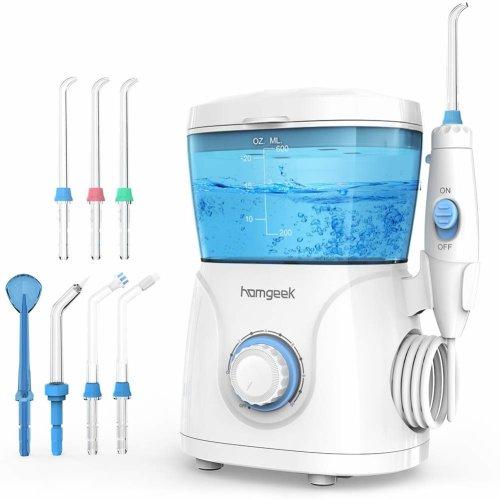 Water Flosser for Teeth,Homgeek Dental Water Jet Flosser Dental Cleaner Power Flosser,600ML High Capacity Dental Oral Irrigator with 10 Pressure...