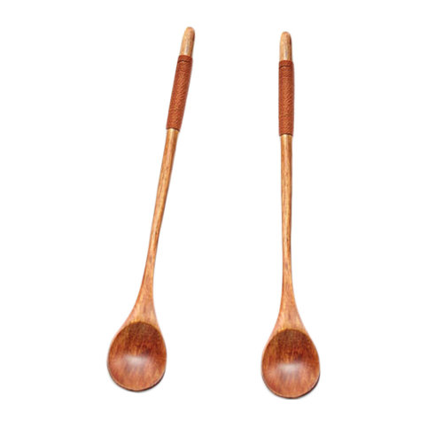 2Pcs Exquisite Wooden Stirring Spoon Coffee Spoon For Home/Office,No.4