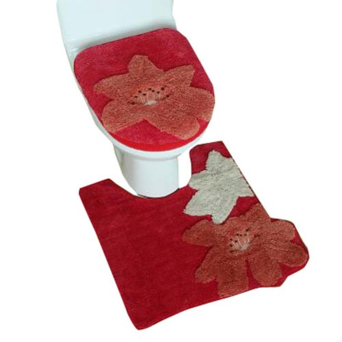 3 Pieces [Red Flower] Toilet Cover/Seat Cover/Toilet Mat/Protector