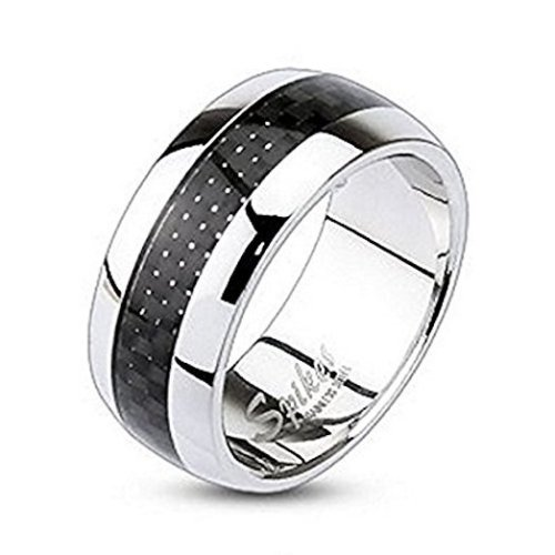 Black Carbon Fiber Inlay Center Dome Stainless Steel Band Ring
